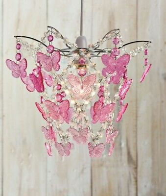 Girls butterfly ceiling light 500 picclick uk pink butterfly pendant lightshade ceiling light shade chandelier girls bedroom mozeypictures Gallery