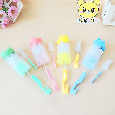 2Pcs Baby Bottle Nipple Cleaning Brush Cup Teapot Nozzle Spout Cleaner Wash Tool