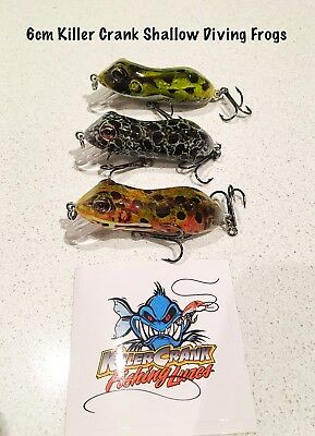 (3 Pack) 6cm Killer Crank Shallow Diving Frog Cod/Bass Fishing Lures 8g