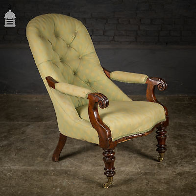 Georgian Upholstered Mahogany Lounge Chair with Turned Legs and Brass Castors