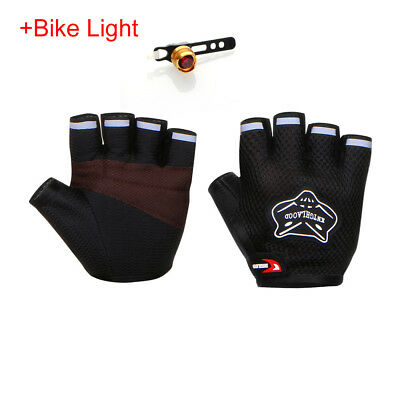 Outdoor Sports Padded Gym Gloves Cycling Bicycle Bike Fingerless Adult Black L