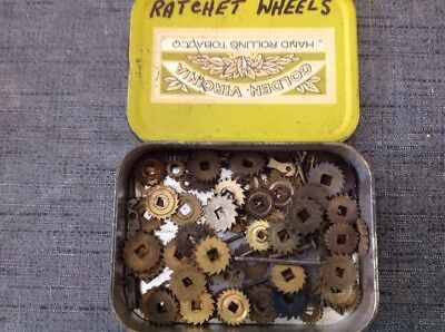 Antique Clock Spring Winding Ratchet Wheels Cogs Assorted 50+ Clockmakers Parts