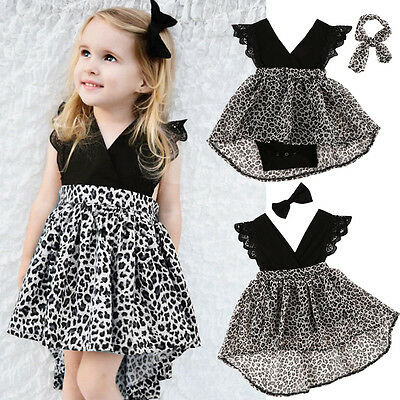 New Infant Baby Girl Floral Dress Leopard Print Bowknot Sundress Clothes 0-7Y BW