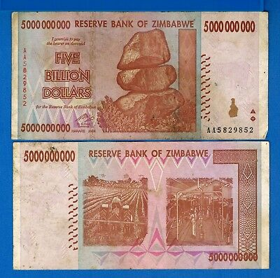 Zimbabwe P-84 Five Billion Dollars 2008 Circulated Banknote Africa