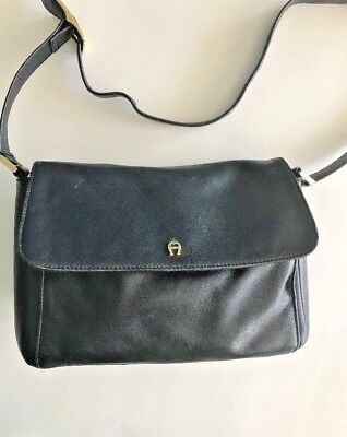 Vintage Etienne Aigner Purse Classic Leather Handbag Shoulder Bag Black