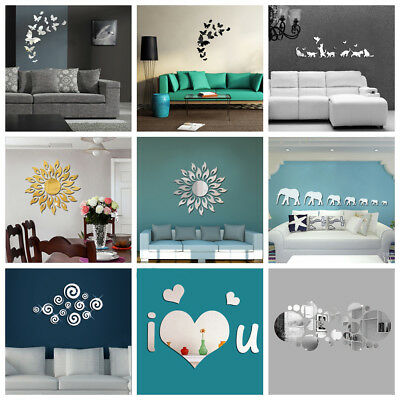 3D Removable Acrylic Decal Art Mural Mirror Wall Stickers DIY Home Room Decor
