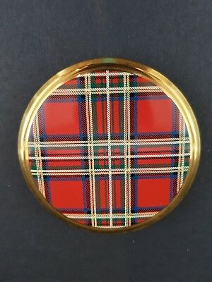 Vintage Kigu Powder Compact - Tartan Pattern - Excellent Condition