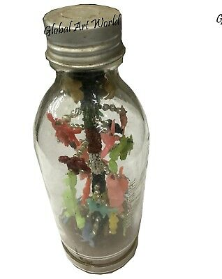 Vintage Decorative Décor Figurines Antique Glass Bottle Funny Sculpture HB 0251