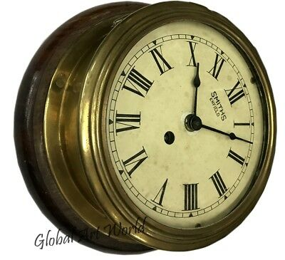 Antique Time Piece Wind Up Smith Enfield Roman Numerals Brass Wall Clock HB 0226