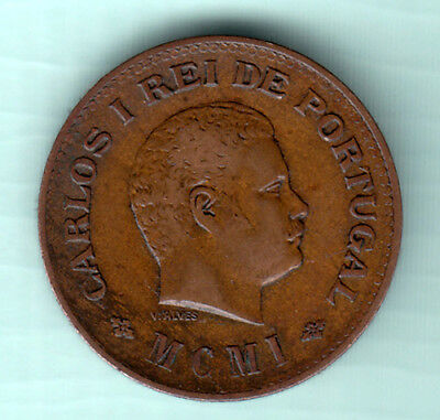 Portuguese Colonial India 1901 Extremely RARE 1/4 Tanga Copper Coin Carlos I 532