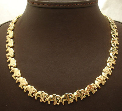 """17"""" All Shiny Elephant Link Chain Necklace 14K Yellow Gold Clad Silver 925"""