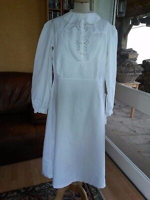 N10 ANCIENNE CHEMISE LONGUE coton brodé T40 OLD EMBROIDERED COTTON SHIRT M. 1900