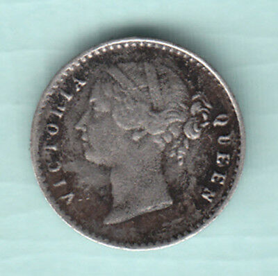 British India 1841 Extremely RARE Silver 2 Annas Coin Victoria Queen E.I.C  538