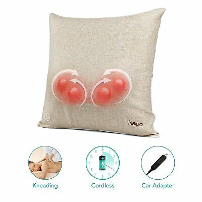 Naipo Back and Neck Massager Shiatsu, Massage Cushion Pillow Cordless, 3D Deep K