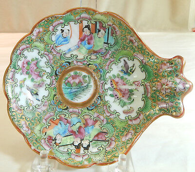 """Chinese Export Porcelain """"Rose Medallion"""" Spoon Dish c. 1840"""