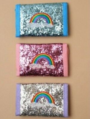 Childrens Girls Kids Pink Silver Blue Glitter Small Wallet with Rainbow Motif