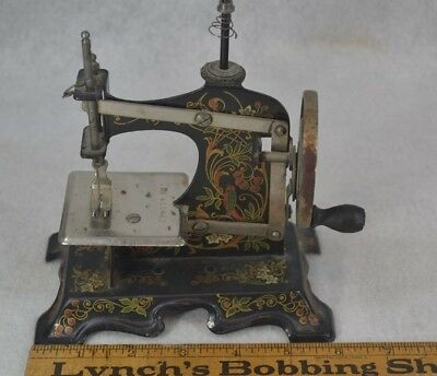 antique toy sewing machine Germany hand crank fancy decorated works original