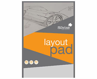 Layout Pad Blank Paper Acid Free -Silvine 50 gsm 50 Sheets A4- WH2-R3C 871 NEW