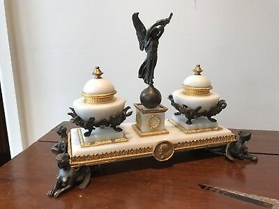 French Napoleonic Empire Style Bronze, Ormolu And Marble Desk Ink Stand.