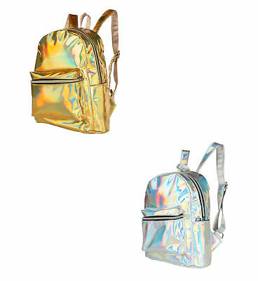 80s 90s Shiny Metallic Bags Adult Holographic Festival Travel Backpack Rucksack