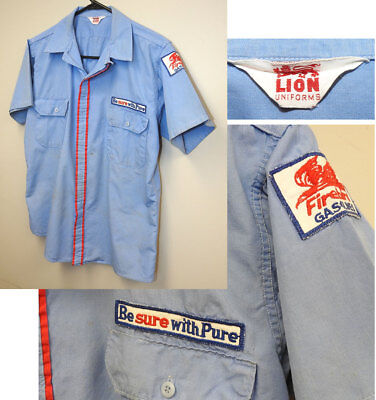 Vintage Pure Oil Station Attendant shirt with Firebird Gasoline patch