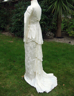 """Vintage Bridal Gown Size 6 - 8 30"""" Bust Victorian Design Stage Costume Play"""