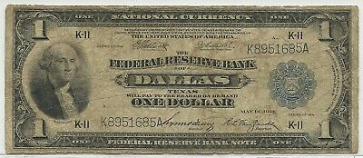 1918 U.S $1 Federal Reserve Bank Note of Dallas, Texas * Large Note - NO RESERVE