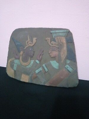 RARE ANTIQUE ANCIENT BEAUTIFUL QUEEN Cleopatra & Osiris Egyptian 1370-133BC