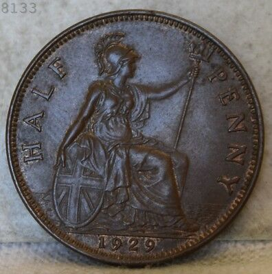 "1929 Great Britain Half Penny ""UNC"" *Free S/H After 1st Item*"