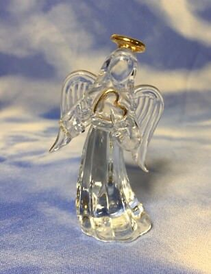 """Rare Beautiful 3"""" Clear Glass Angel Figurine Holding a Heart Gold Accents RGUC"""
