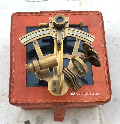 4'' Maritime Vintage Nautical Sextant Astrolabe Navy Marine Sextant With Case