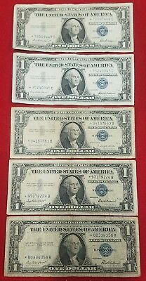 Series 1957 & 1957B $1 Silver Certificate STAR NOTES Circulated Lot of 5