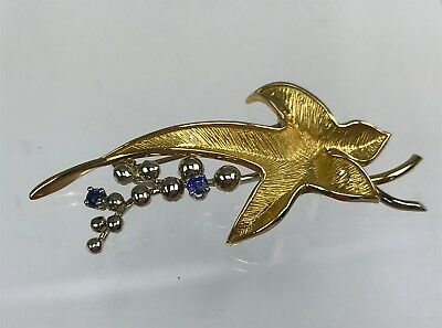 Signed Dan Frere 18k Yellow Gold Modernist Leaf Shape Brooch w/ Sapphires