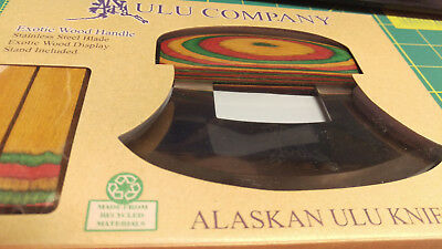 Alaska Ulu Knife with Exotic Wood Handle and Display stand! unique collectible!