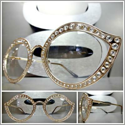 CLASSIC VINTAGE RETRO Style Clear Lens EYE GLASSES Bling Crystal Rose Gold Frame