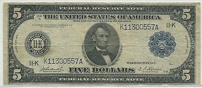 1914 US $5 Large Size Federal Reserve Note - Dallas, Texas