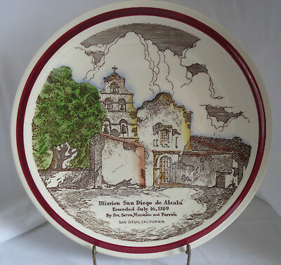 "Vernon Kilns Early Spanish Mission San Diego de Alcala California 14"" Chop Plate"