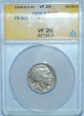 1936 S/S ANACS VF20 Details FS-501 Repunched Mint Mark RPM Buffalo Nickel