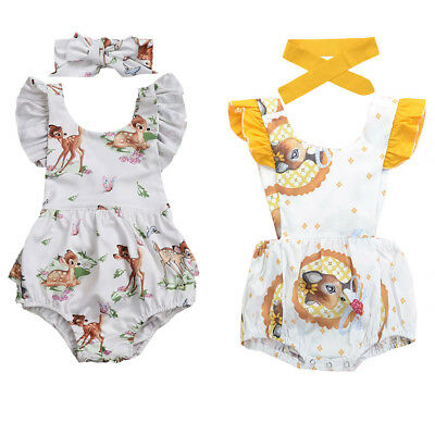 Newborn Baby Girl Bambi Deer Romper Bodysuit + Headband Clothes Outfits Sunsuit