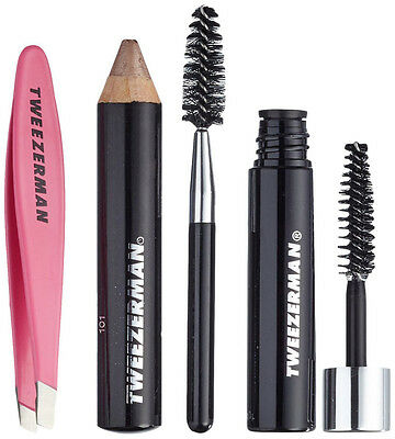 Tweezerman MINI BROW RESCUE KIT: Tweezers, Browmousse, Eyebrow Brush & Pencil