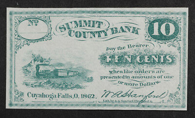 1862 10 Cent Bank Note, Summit County Bank, Cuyahoga Falls Ohio, with Train
