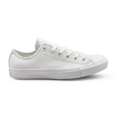 Converse Chuck Taylor All Star Ox Low Top Mono White Leather Unisex Trainers.