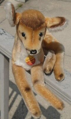 1960s Steiff Large Mohair Fawn Deer-Sitting Position w/Button,Tag+Label #1823/35