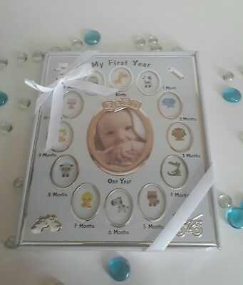 Mystic Apparel My First Year Photo Frame, silver 12 Months New