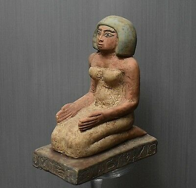 ANCIENT ANTIQUE Egyptian stone statue as woman Sitting squatting (1500-300 BC)