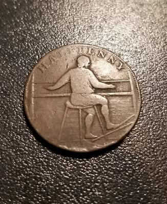 "1791 ""Rochdale"" Great Britain Colonial Halfpenny! Antique coin"
