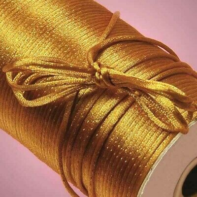 20 m (60+ feet) Antique GOLD SATIN CORD 2mm Rat Tail RatTail  Kumihimo Braiding