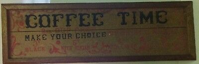 Vintage Diner Coffee Advertising Wood Sign Black 3 Cents w/ Sugar 5 Cents