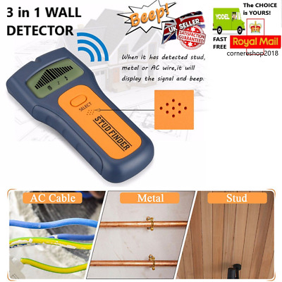 3 in 1 Wall Detector Stud Center Finder Metal AC Live Wire Wood Scanner LCD UK