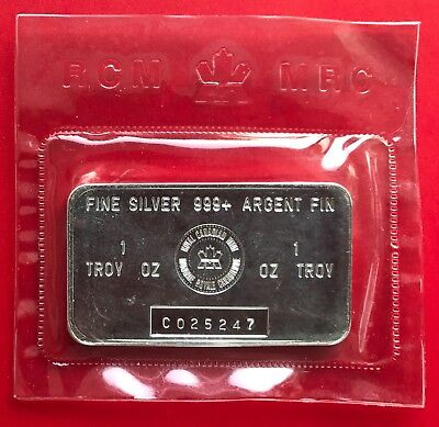 Vintage Royal Canadian Mint 1oz .999 Silver RCM Canada Bar - Series C